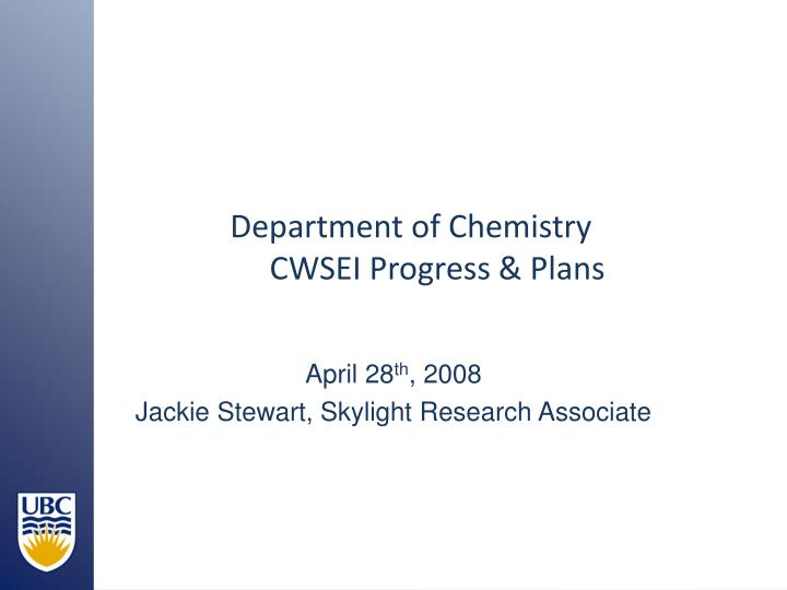 Department of chemistry cwsei progress plans
