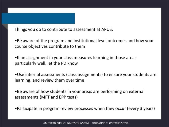 Things you do to contribute to assessment at