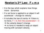 newton s 2 nd law f m a