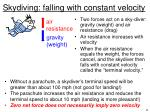 skydiving falling with constant velocity