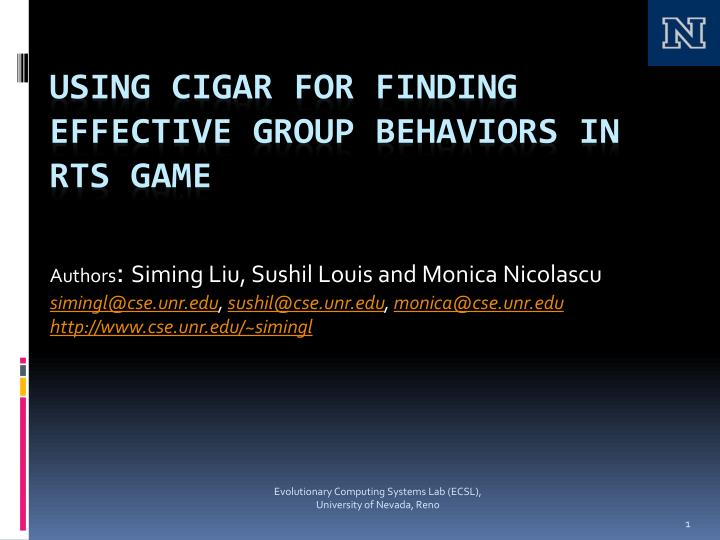 using cigar for finding effective group behaviors in rts game