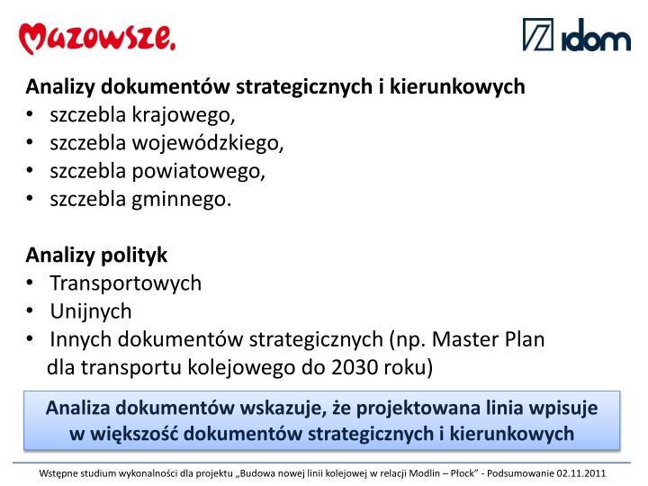 Analizy dokumentów strategicznych i kierunkowych
