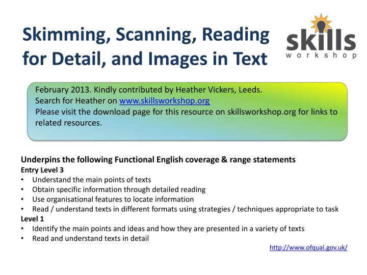 skimming scanning reading for detail and images in text n.