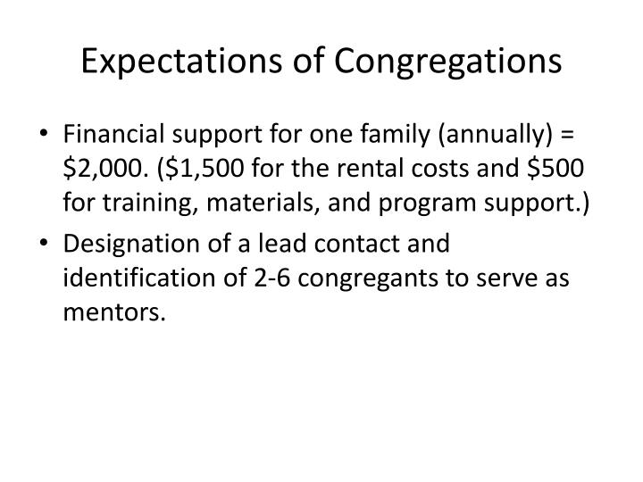 Expectations of Congregations