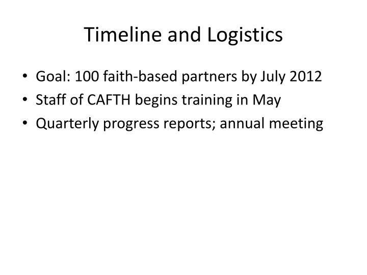 Timeline and Logistics