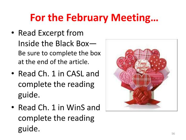 For the February Meeting…