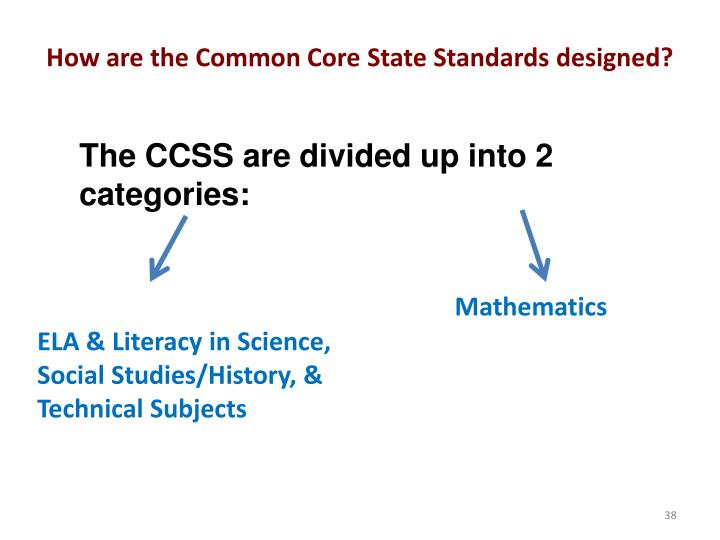 How are the Common Core State Standards designed?