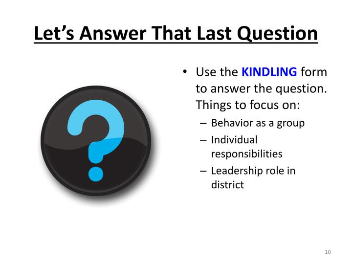 Let's Answer That Last Question