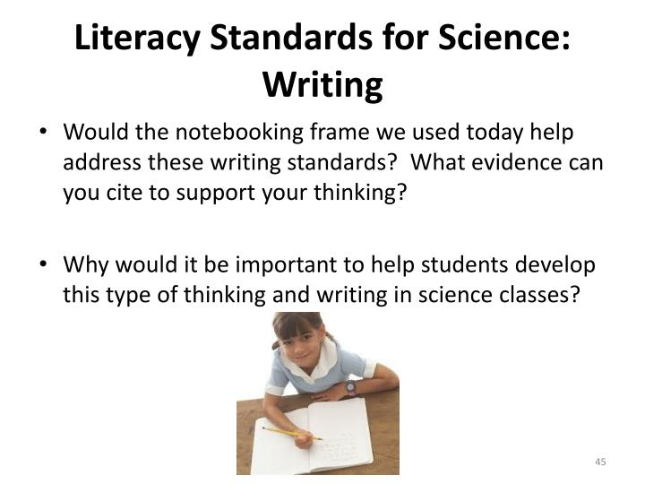 Literacy Standards for Science: Writing