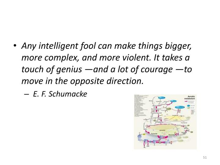 Any intelligent fool can make things bigger, more complex, and more violent. It takes a touch of genius —and a lot of courage —to move in the opposite direction.