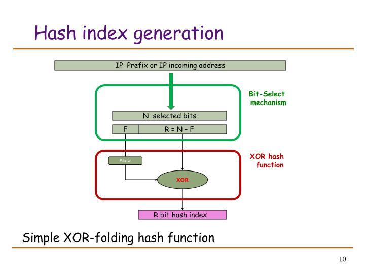 Hash index generation