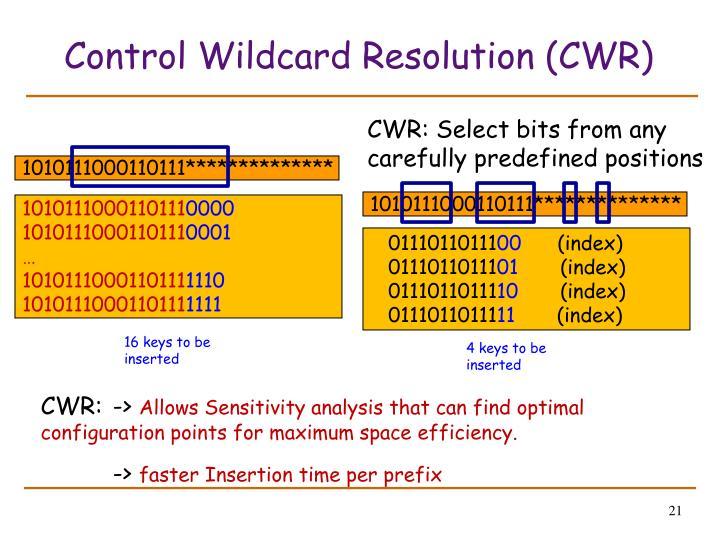 Control Wildcard Resolution (CWR)