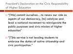 president s declaration on the civic responsibility of higher education