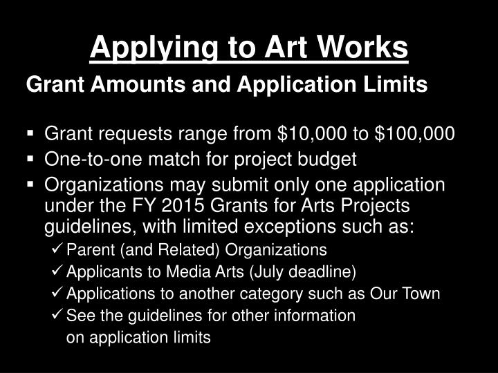 Applying to Art Works