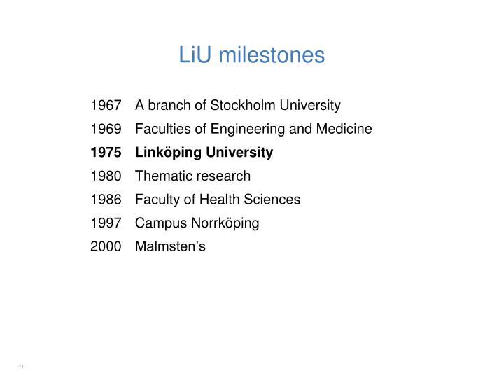 LiU milestones