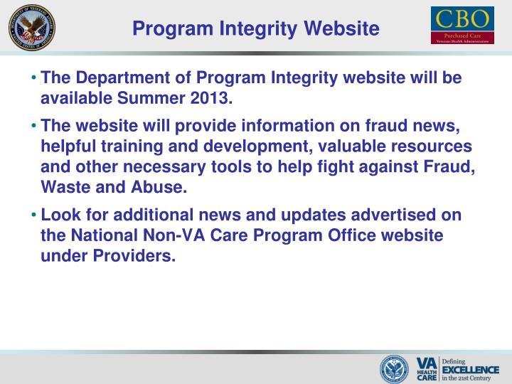 Program Integrity Website