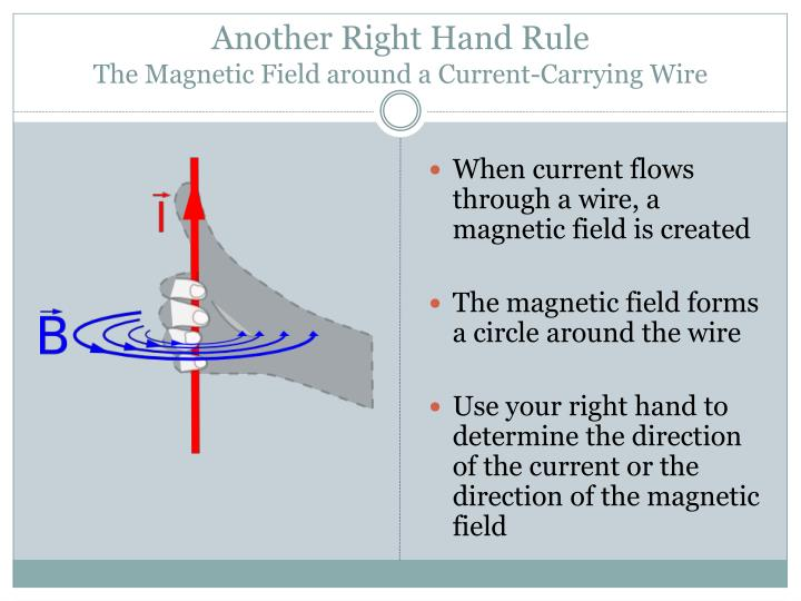 Another right hand rule the magnetic field around a current carrying wire