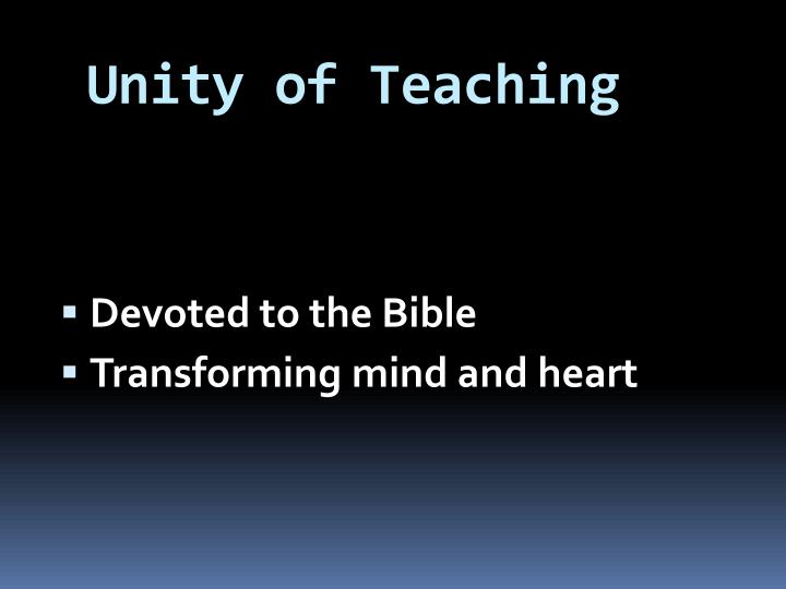 Unity of teaching
