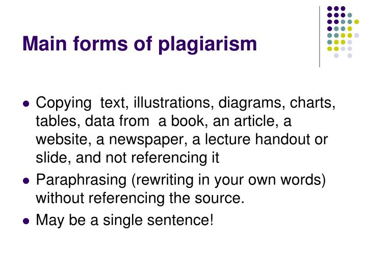 Main forms of plagiarism