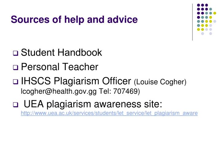 Sources of help and advice