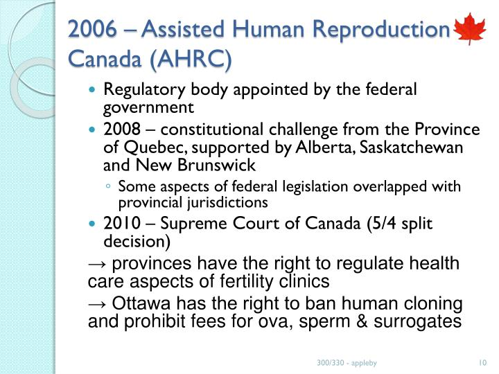 2006 – Assisted Human Reproduction Canada (AHRC)