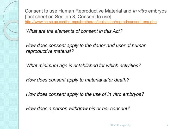 Consent to use Human Reproductive Material and