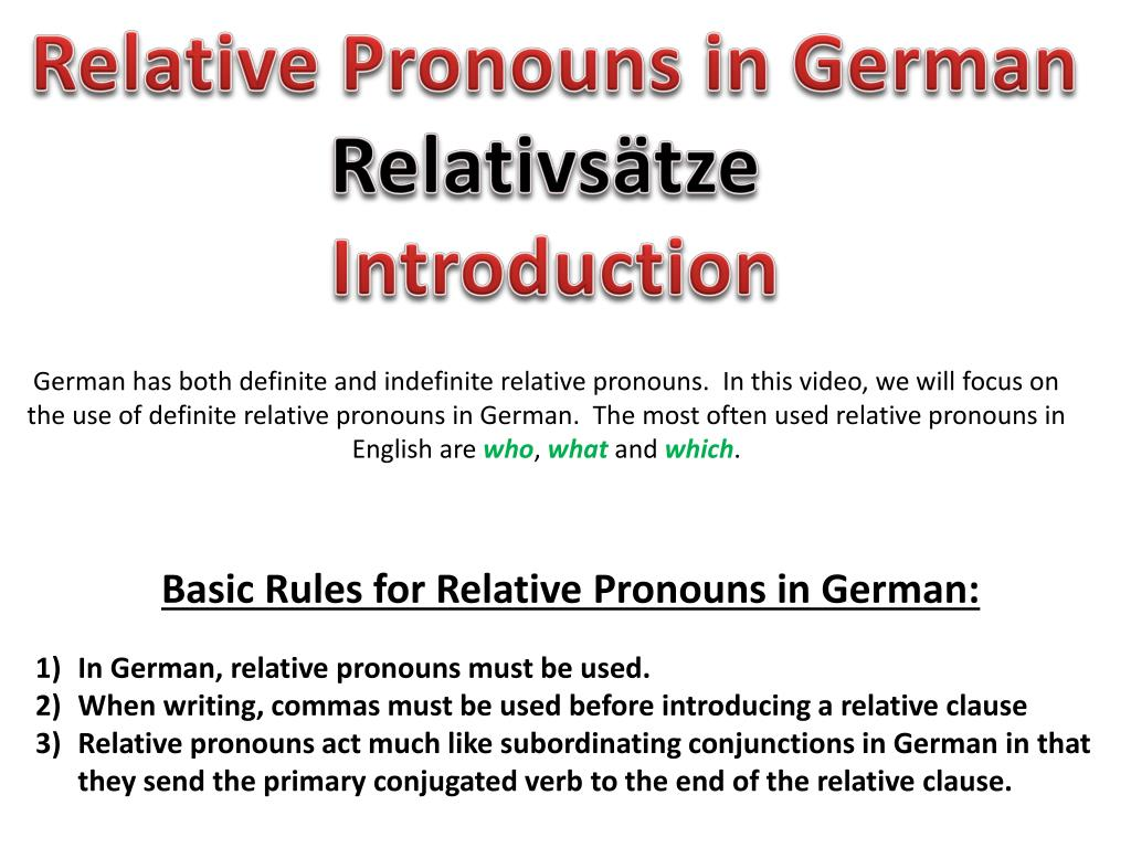 Ppt Relative Pronouns In German Relativstze Introduction