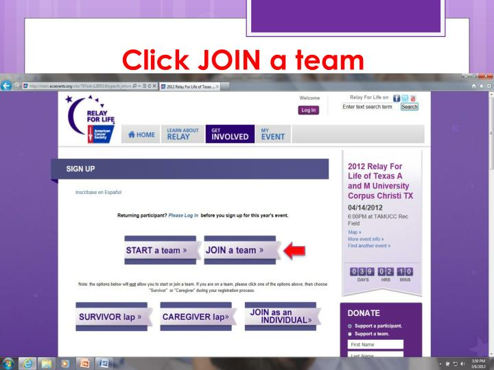 Click JOIN a team