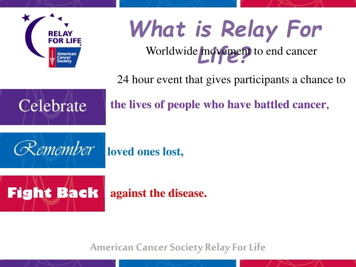 Ppt american cancer society relay for life powerpoint worldwide movement to end cancer toneelgroepblik Gallery
