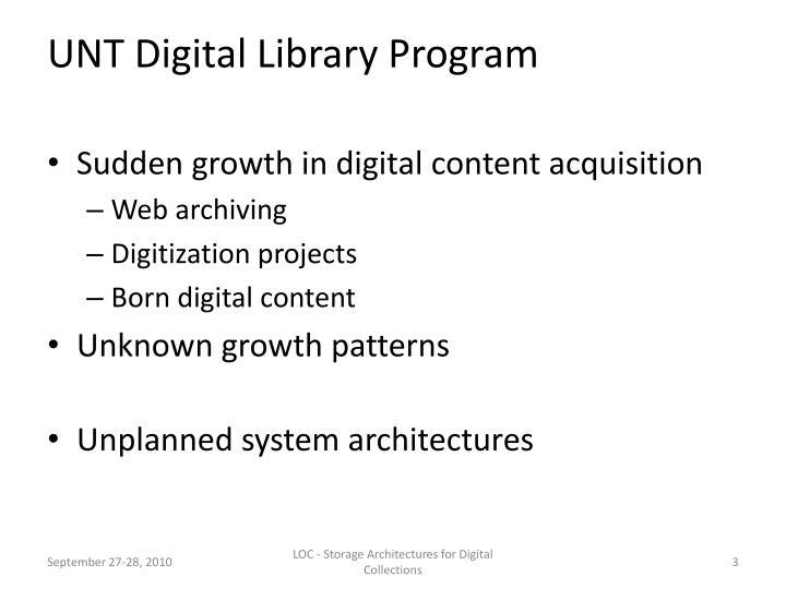 Unt digital library program
