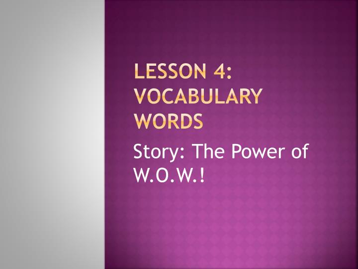 lesson 4 vocabulary words n.