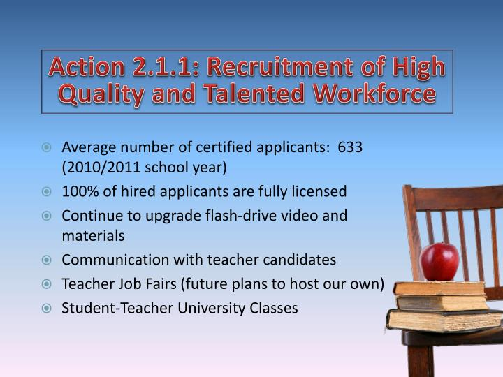 Action 2.1.1: Recruitment of High