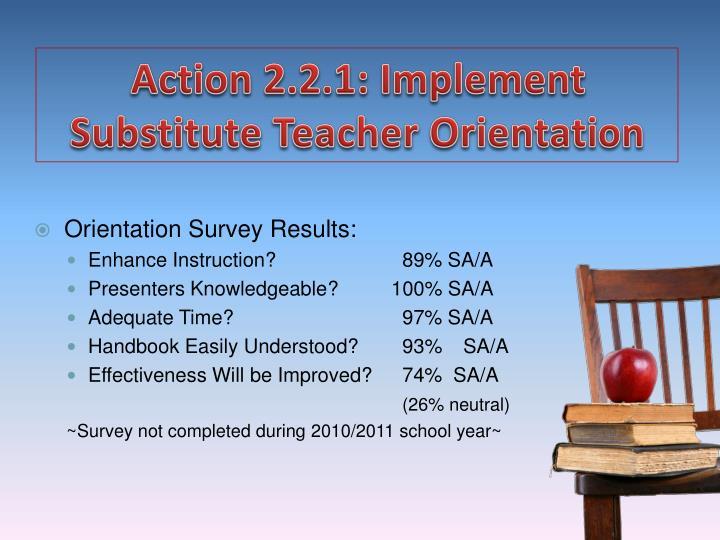 Action 2.2.1: Implement Substitute Teacher Orientation