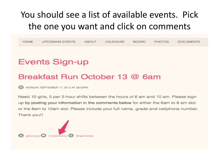 You should see a list of available events.  Pick the one you want and click on comments