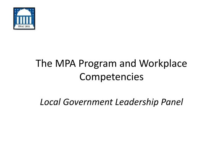 the mpa program and workplace competencies
