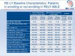 re ly baseline characteristics patients in enrolling or not enrolling in rely able