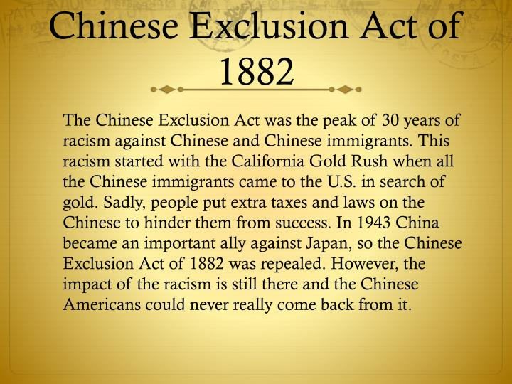essay question chinese exclusion act Transcript of chinese exclusion act (1882) name: date: document analysis worksheet 1  write a question to the author that is left unanswered by the document be.