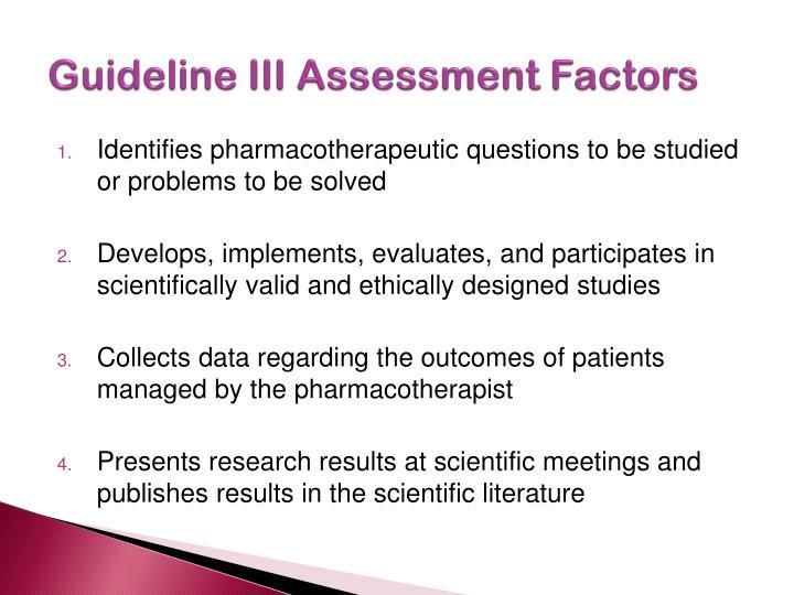 Guideline III Assessment Factors