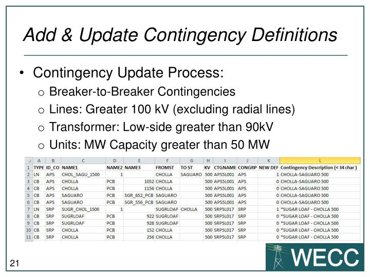 Add & Update Contingency Definitions