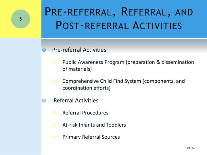 Pre-referral, Referral, and Post-referral Activities