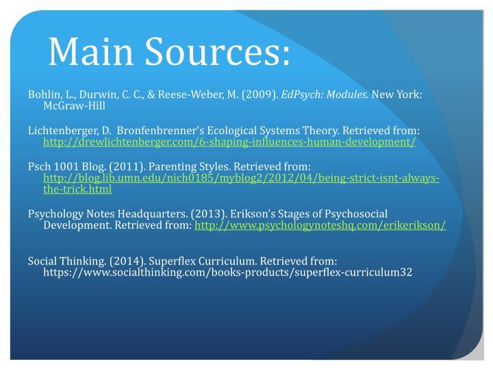 Main Sources: