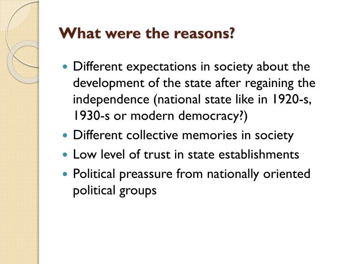 What were the reasons?