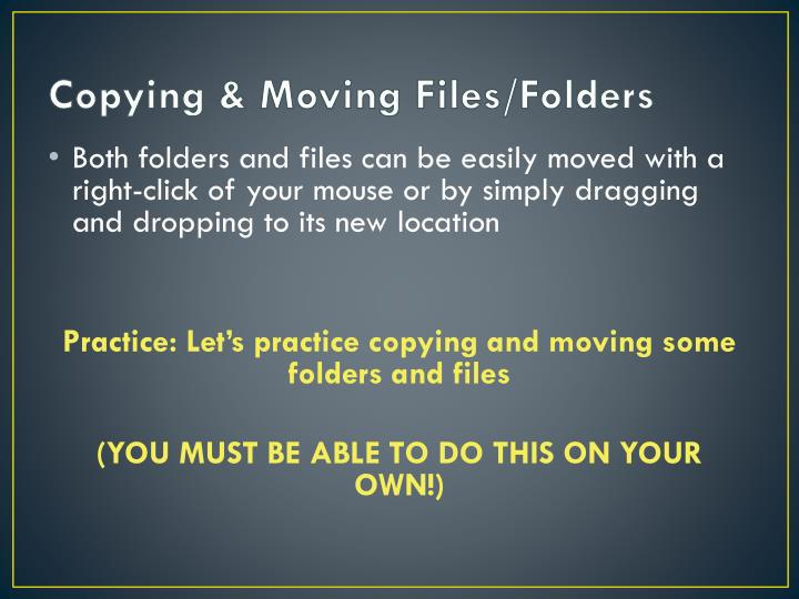 Copying & Moving Files/Folders