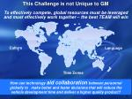 this challenge is not unique to gm