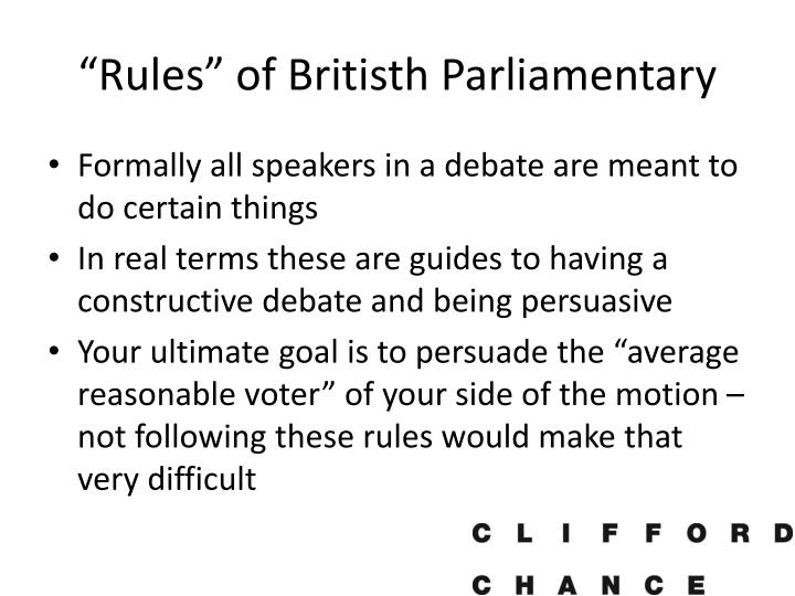 Rules of britisth parliamentary