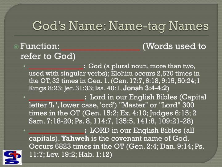 God's Name: Name-tag