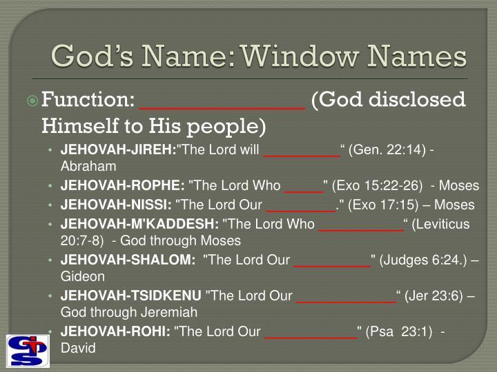 God's Name: Window