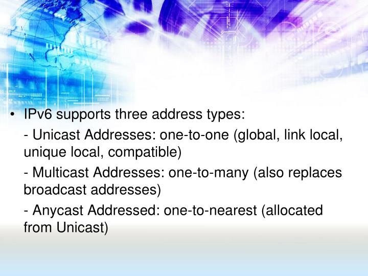 IPv6 supports three address types: