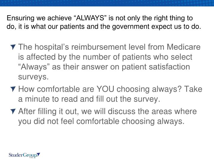 "Ensuring we achieve ""ALWAYS"" is not only the right thing to do, it is what our patients and the government expect us to do."