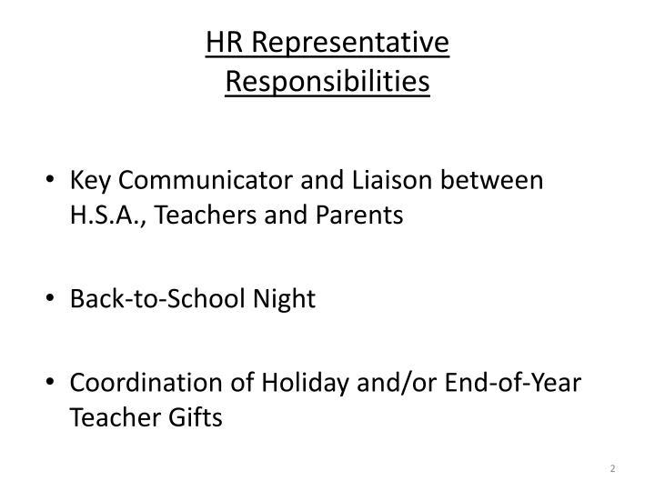 Hr representative responsibilities